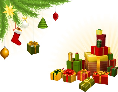 traditional gifts: Christmas corner background elements. Christmas tree, balls and gifts. Corners can be moved for more space in centre