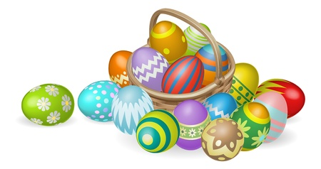 egg hunt: Illustration of colourful painted Easter eggs in a wicker basket