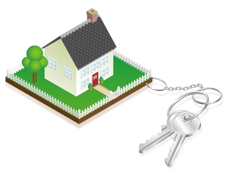 House attached to keys as keyring. Concept for new house purchase, mortgage etc. Stock Vector - 11189926