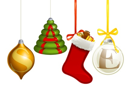 Set of Christmas decorations forming the word sale Vector