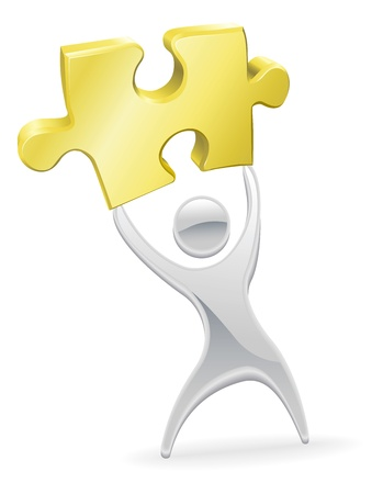 Metal character mascot holding up a jigsaw puzzle piece. Solution or opportunity concept.