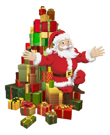 An illustration of Santa sitting on a pile of gifts waving Stock Vector - 11189925