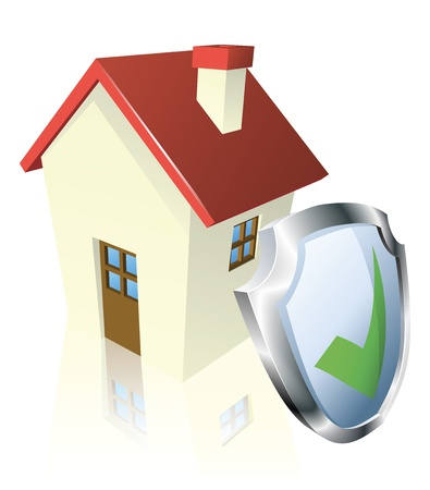 protect concept: House with shield and green tick indicating it is insured, safe, or guaranteed