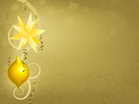 A gold Christmas ornament decoration background illustration Vector