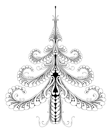 tree outline: Illustration of a beautiful festive abstract pattern Christmas tree