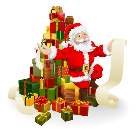 Santa with his list and and quill pen seated on a stack of gifts