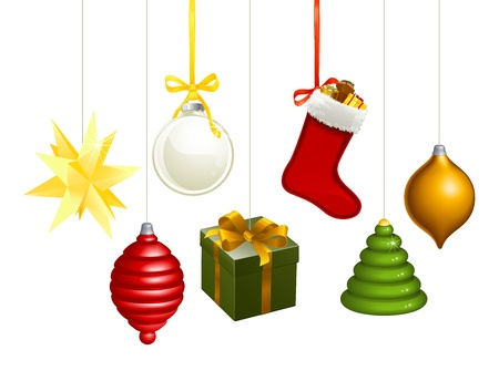 white stockings: A series of Christmas decorations. Star, balls, gift, stockings, tree, bauble etc.