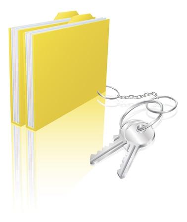 fob: Illustration of file folder attached to keys as a keyring. Concept for secure file storage, access etc. Illustration