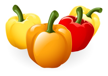 peper: Illustration of a group of fresh tasty sweet peppers Illustration