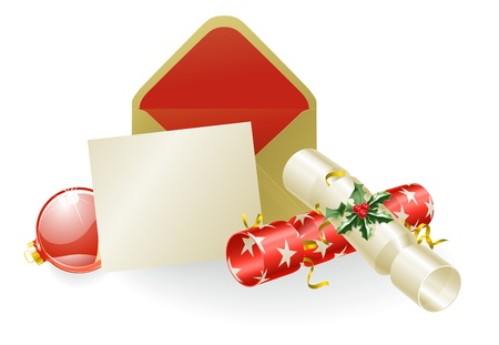 Illustration of a Christmas message with crackers and baubles. Space for text etc. Vector