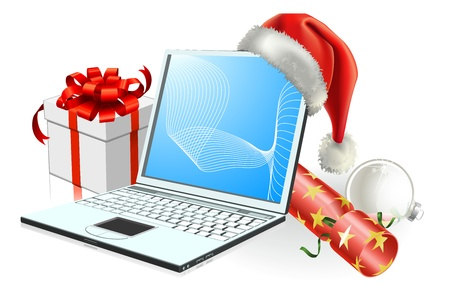 santa       hat: Christmas laptop computer with Santa hat, gift cracker and bauble