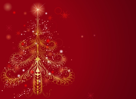 tree vertical: Background illustration of a beautiful golden Christmas tree pattern on red