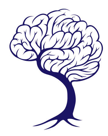A tree growing in the shape of a brain Illustration