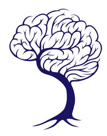 educazione ambientale: Un albero cresce a forma di un cervello