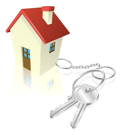 realestate: House attached to keys as keyring. Concept for new house purchase, mortgage etc.