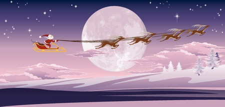 Santas sled flying through the air in front of the moon. Vector