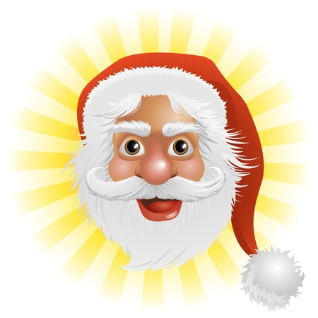 An illustration of a happy Christmas Santa Claus face Vector
