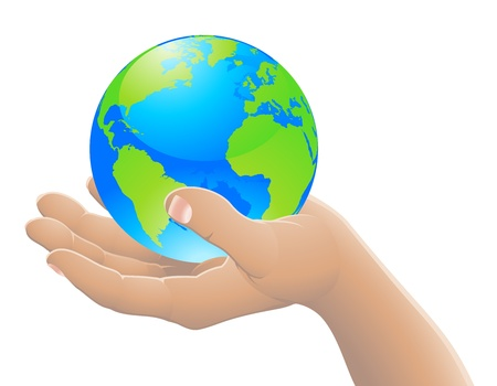 Hand holding the world globe. The world in your hand concept. Vector