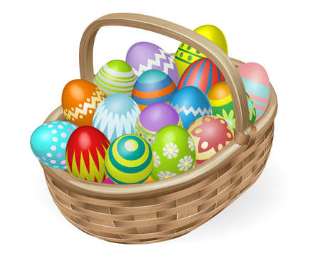flower baskets: Illustration of basket of colourful painted Easter eggs Illustration