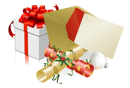 christmas mail: Illustration of Christmas letter or invite with crackers and baubles. Space for text. Illustration