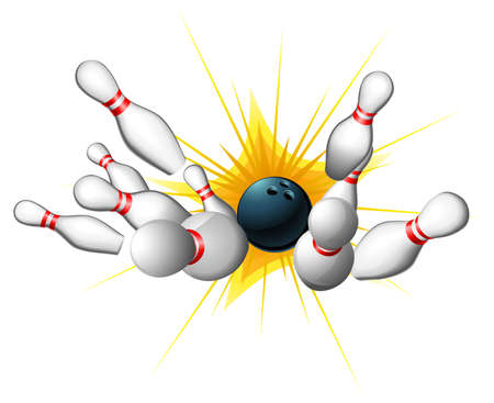 All ten pins being knocked down by a bowling ball for a strike Stock Vector - 11383887
