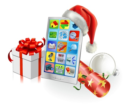 Christmas mobile phone with Santa hat, gift, cracker and bauble Vector
