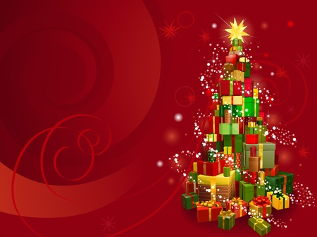 Red Christmas gift tree background with snowflakes and swirls Illustration