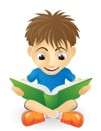 the reader: An illustration of a happy small boy smiling and reading a book