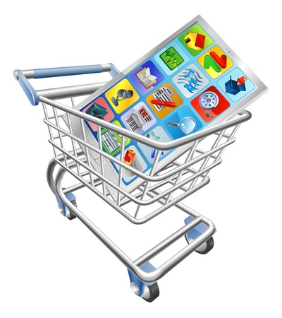 push cart: An illustration of a smart mobile phone or tablet PC in shopping cart trolley