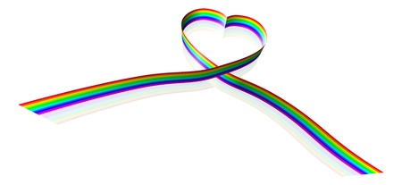 Illustration of a rainbow coloured ribbon forming a heart shape. Illustration