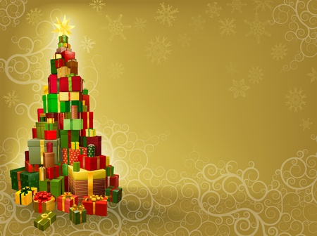 Christmas background with gifts stacked in tree shape with star Vector