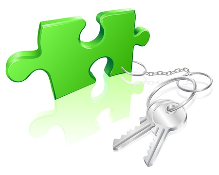 key fob: Key attached to jigsaw piece. Concept for solution to a problem Illustration