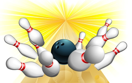 ten pin bowling: An illustration of a bowling ball scoring a strike Illustration