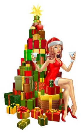 señora: Mujer bonita en traje de Santa sentado en la pila de regalos