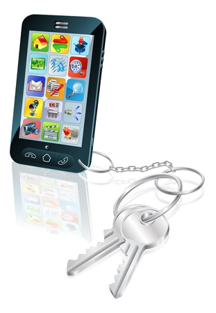key in chain: Illustration of mobile phone with keys attached. Concept for secure phone access or phone unlocking.