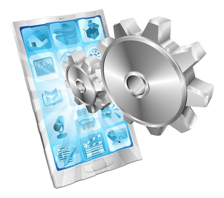 cogs and gears: Gear cogs flying out of phone screen tune up or settings application concept illustration.