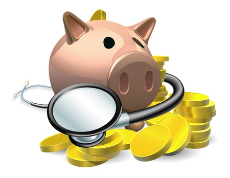 piggybank: Financial health check concept. A piggy bank with coins and stethoscope wrapped round it.