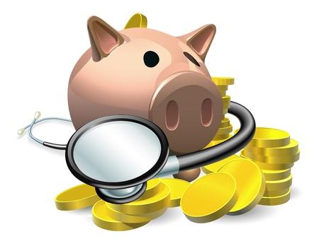 stack of cash: La salud financiera concepto de cheque. Una hucha con monedas y un estetoscopio envuelto alrededor de �l. Vectores