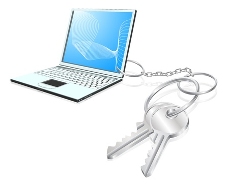 Illustration of  laptop computer attached to keys as a keyring. Access to computers, learning, internet security etc. concept Stock Vector - 11531586