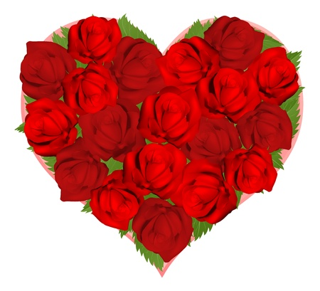 Illustrations of beautiful red roses in heart shaped arrangement Vector