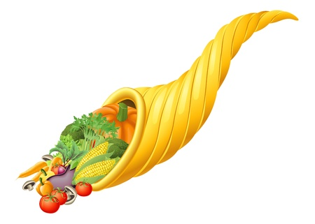 horn of plenty: Illustration of thanksgiving or harvest festival cornucopia horn full of produce