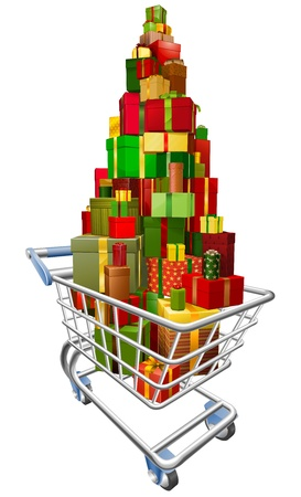 A shopping trolley cart with huge amount of gifts or presents stacked in it Vector