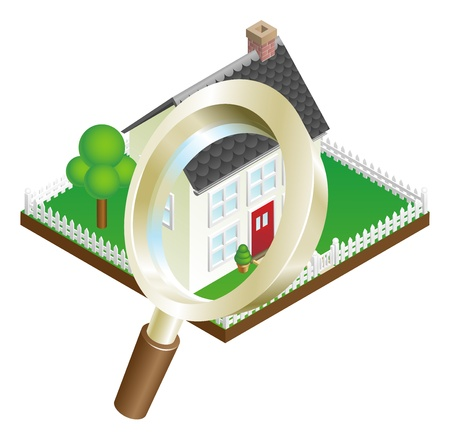 realestate: Magnifying glass zooming on house or house search concept illustration