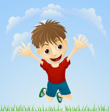 Illustration eines Jungen Fröhlich hüpft die Luft mit ausgestreckten Armen.