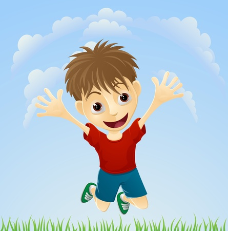 Illustration of a young boy happily jumping the air with arms outstretched. Vector