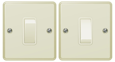 switch on: Illustrations of a light switch in the on and off positions