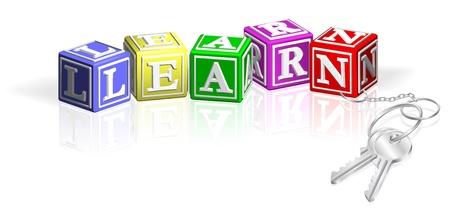 educativo: Aprenda los bloques de madera unidas a las teclas. Concepto para el acceso al aprendizaje.