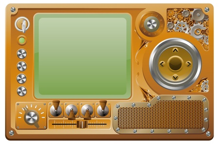 Steampunk style grunge media player control panel Vector