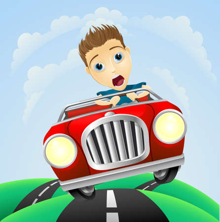 drives: A young man looking very scared driving fast in classic sports car Illustration