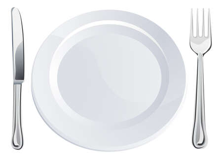 dinner wear: Empty plate and knife and fork cutlery place setting